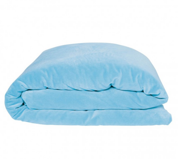 AQUAMARINE BLUE VELVET QUILT COVER - KING