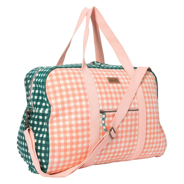 GINGHAM GREEN & PEACH DUFFLE BAG