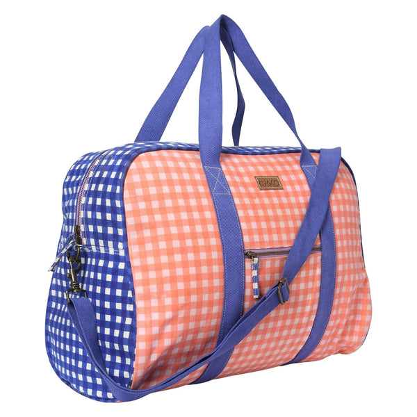 GINGHAM BLUE & PINK DUFFLE BAG