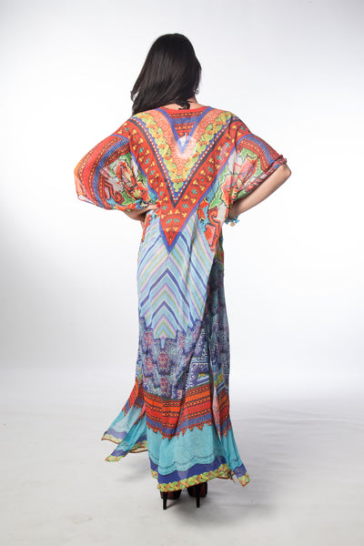 Congo V Neck Long Kaftan - OSFM