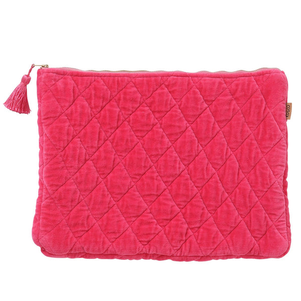 NEON PINK VELVET QUILTED LAPTOP CARRY ALL