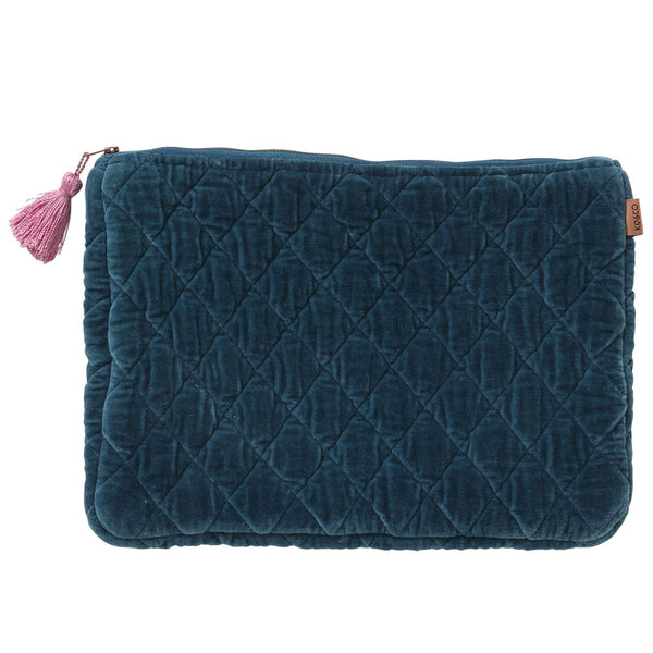 TEAL VELVET QUILTED LAPTOP CARRY ALL