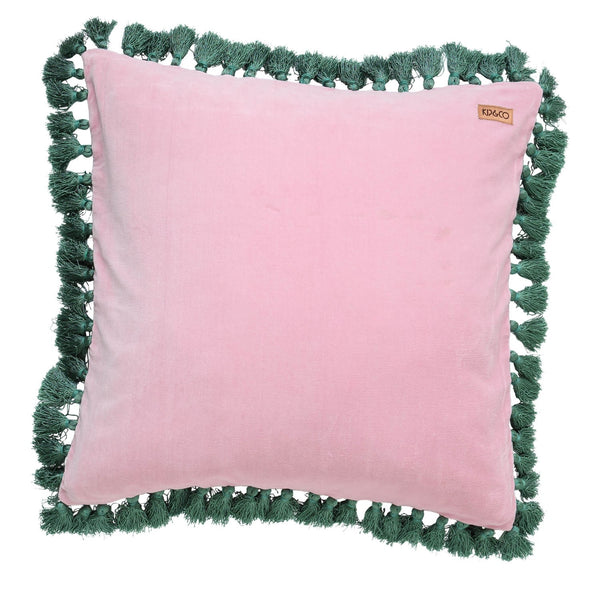 GUAVA PINK VELVET TASSEL - CUSHION COVER