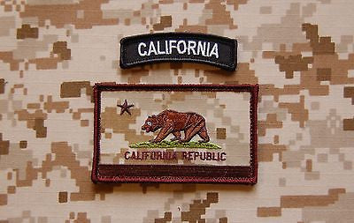 AOR1 California State Flag Patch & BW Tab Set