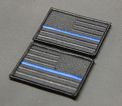 Blackout Thin Blue Line United States Flag Morale Patch Set
