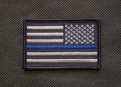 Thin Blue Line Reverse United States Flag Patch - Iron On