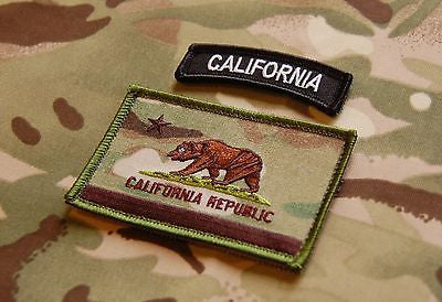 Multicam California State Flag Patch & BW Tab Set