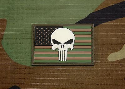 USA Flag Patch 3D PVC Morale Patch - Woodland GITD