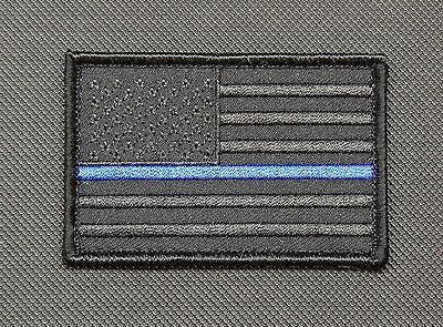 Blackout Thin Blue Line United States Flag Morale Patch