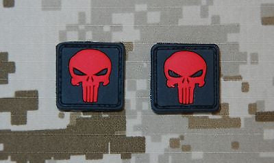 Red Punisher Skull 3D PVC Morale Patch Set
