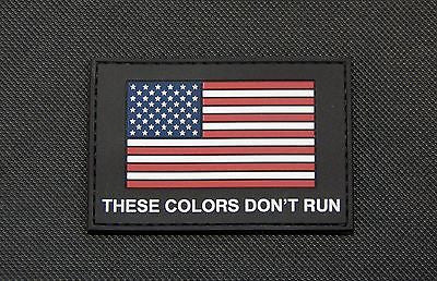 US Flag THESE COLORS DON'T RUN GITD Morale Patch - Black