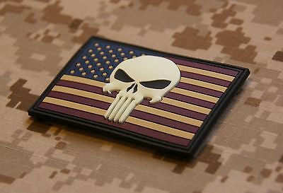 US Punisher 3D PVC Morale Patch - GITD Version