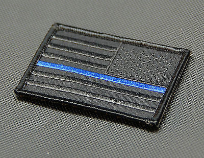 Blackout Thin Blue Line Reverse United States Flag Morale Patch