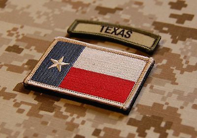 Subdued Texas State Flag & Multicam Texas Tab Patch Set