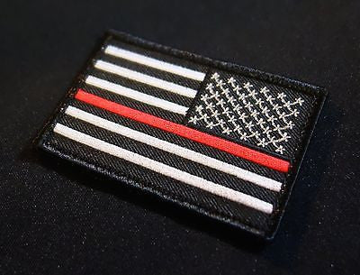 Thin Red Line Reverse United States Flag Patch - Iron On