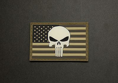 US Punisher 3D PVC Morale Patch - Urban GITD
