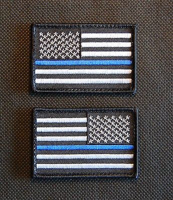Thin Blue Line United States Flag Patch Set - Velcro