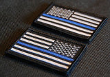 Thin Blue Line United States Flag Patch Set - Iron On
