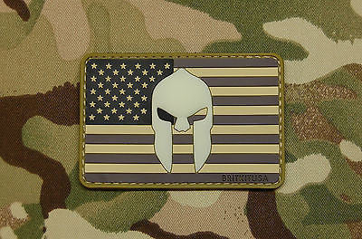 US Spartan Helmet Flag PVC GITD Morale Patch - Urban