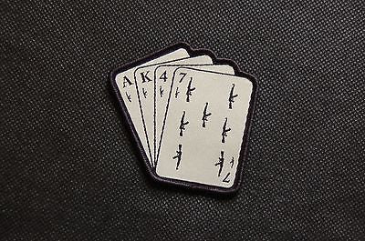 AK47 Playing Cards Woven Morale Patch - Black On Tan