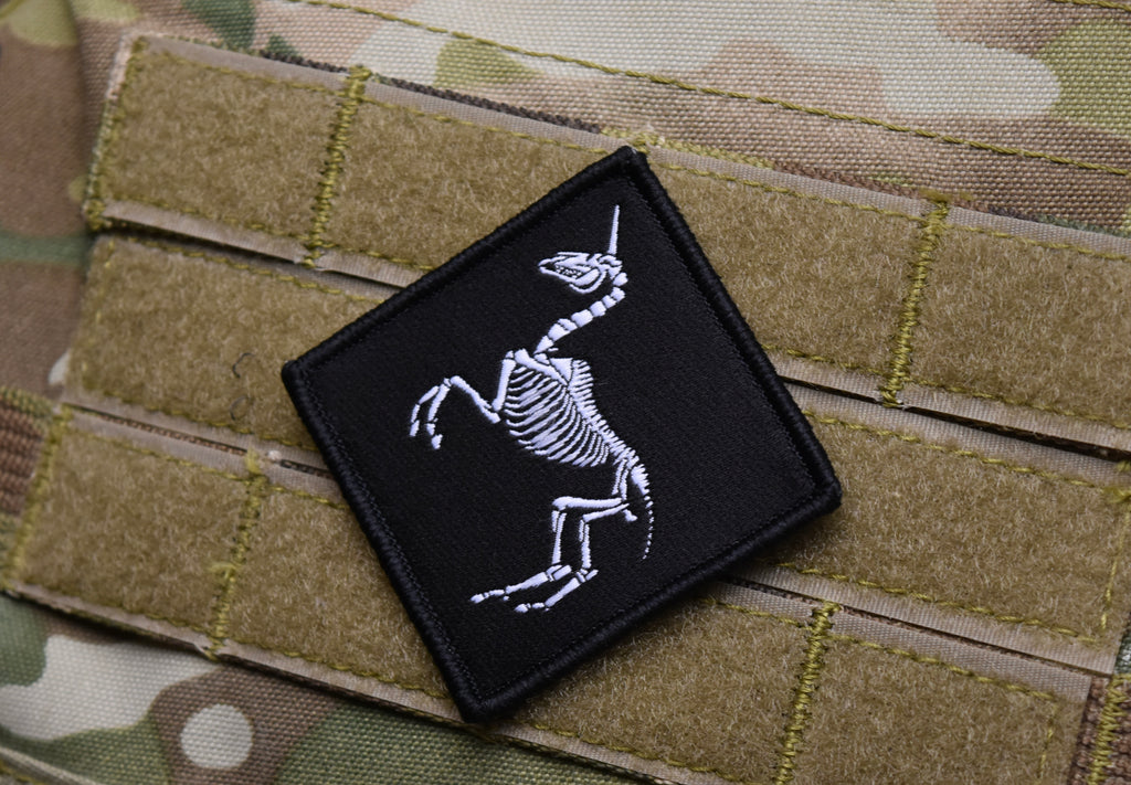Unicorn Skeleton Woven Morale Patch