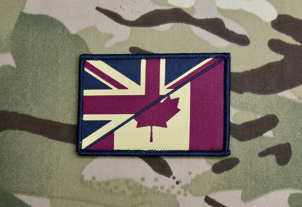 Subdued UK Canada Union Flag Maple Leaf Flag Woven Patch