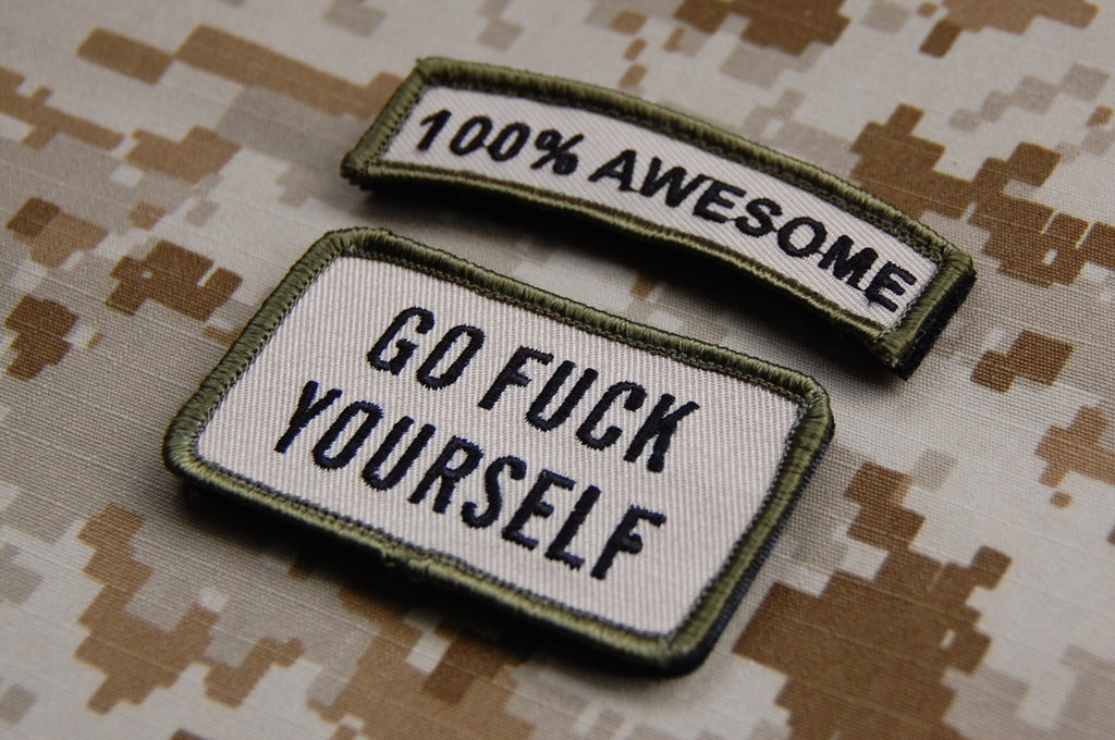 100% AWESOME Tab & GO FUCK YOURSELF Morale Patch Set