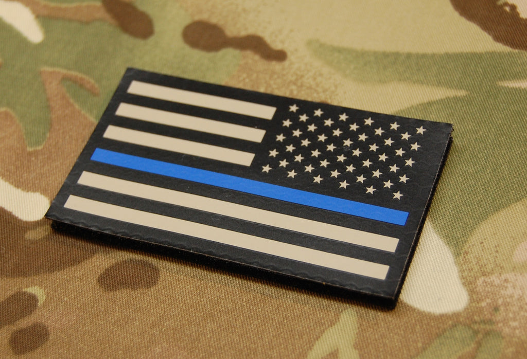 Infrared Thin Blue Line Reverse US Flag Patch