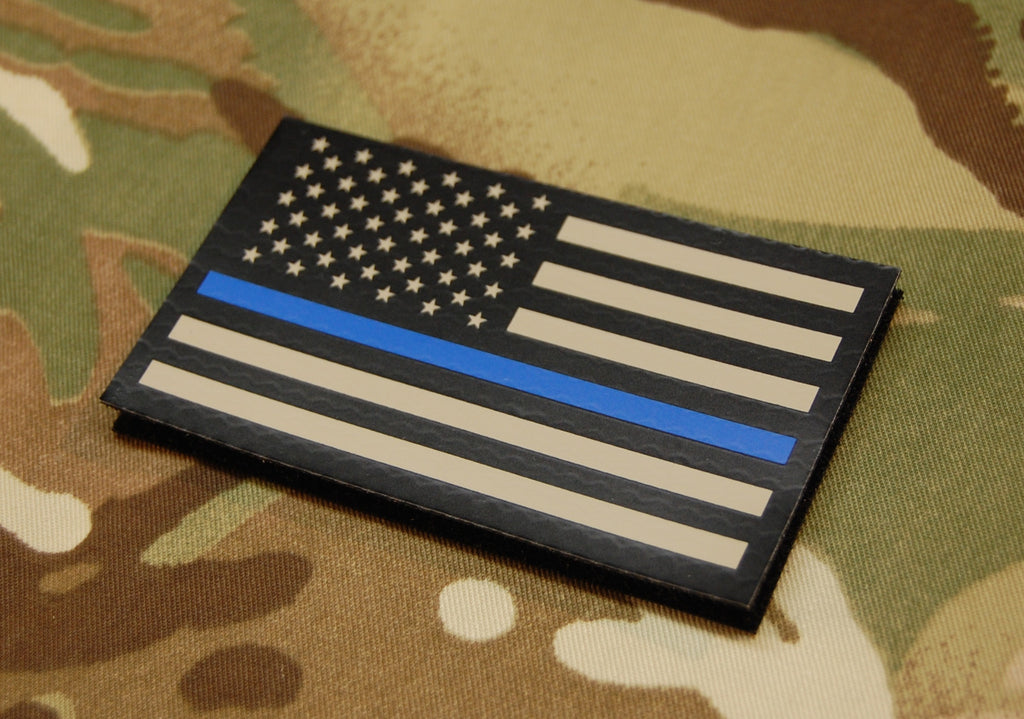 Infrared Thin Blue Line US Flag Patch