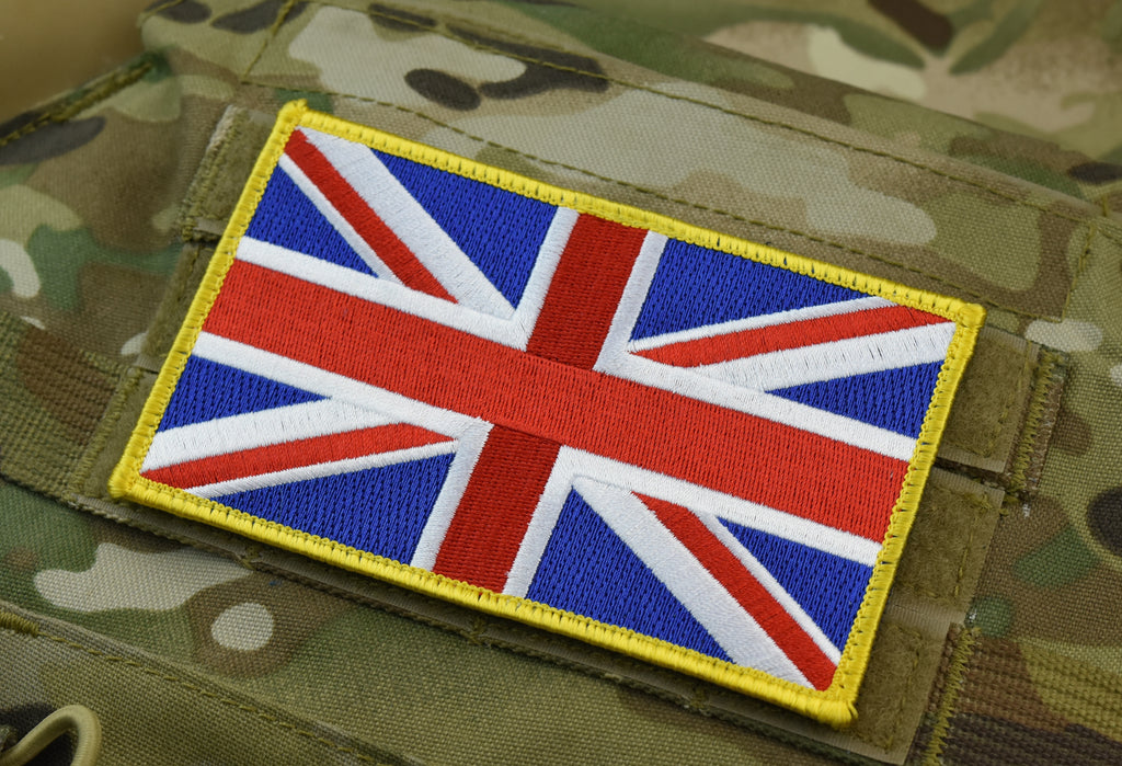"Large UK Flag Patch 5"" x 3"": Yellow Border"