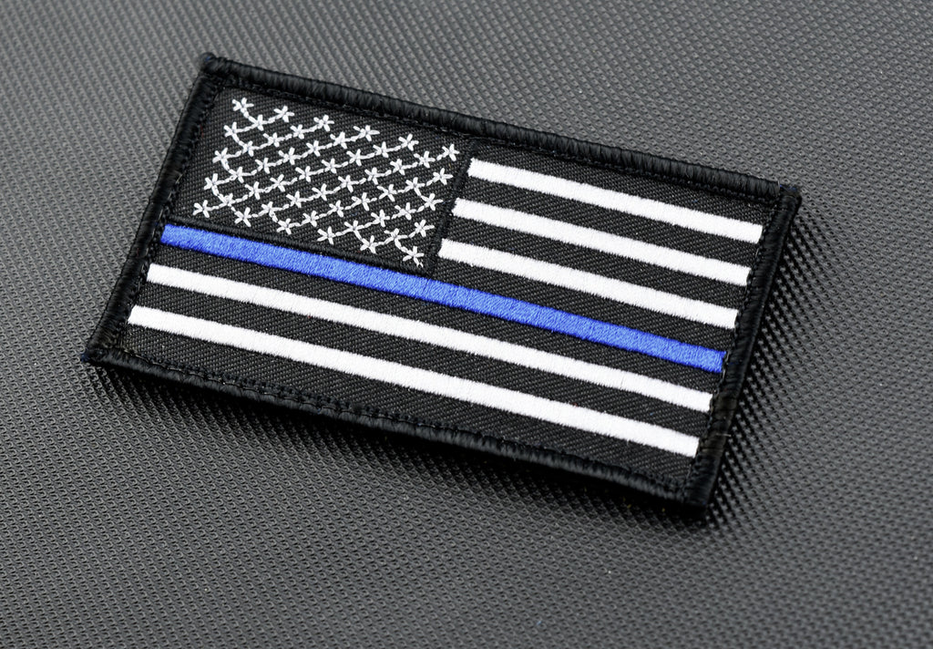 "Thin Blue Line United States Flag 3.5"" x 2"" Patch - Velcro"