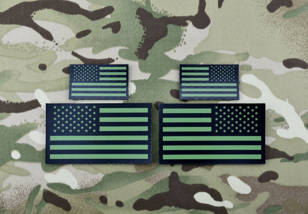 Infrared US Flag Standard & Mini Full Patch Set - Green & Black