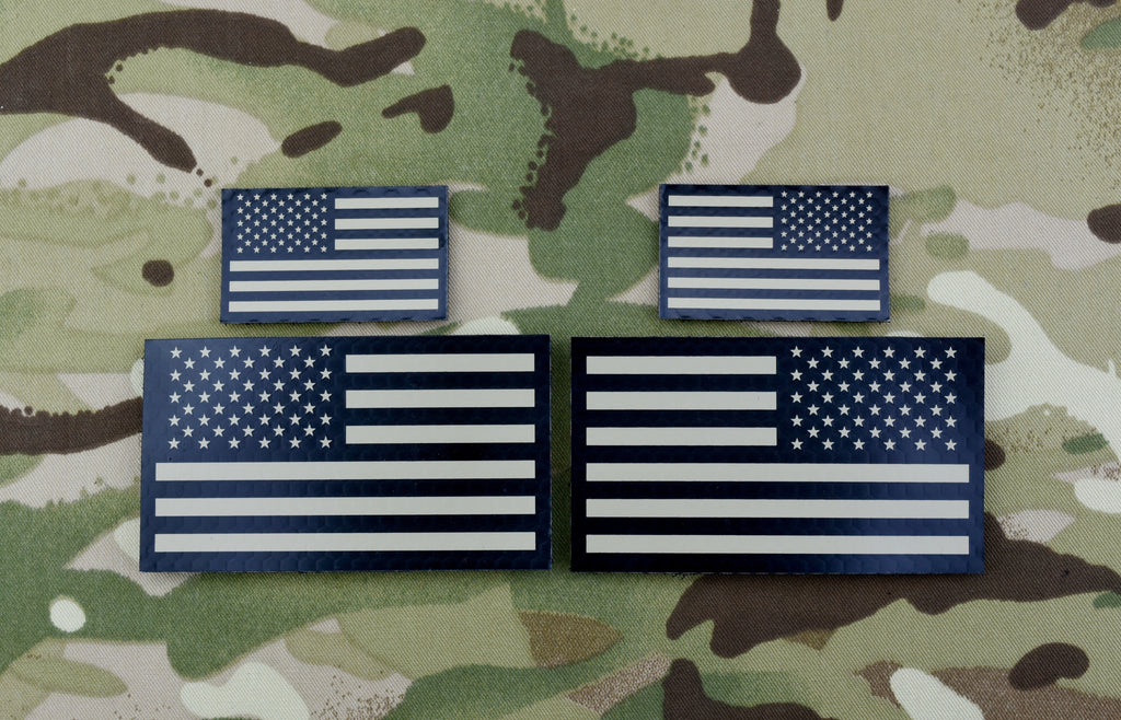 Infrared US Flag Standard & Mini Full Patch Set - Tan & Black