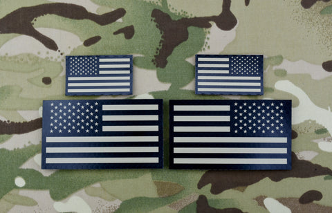 Mini US IR Flag Patch Set - Tan & Black
