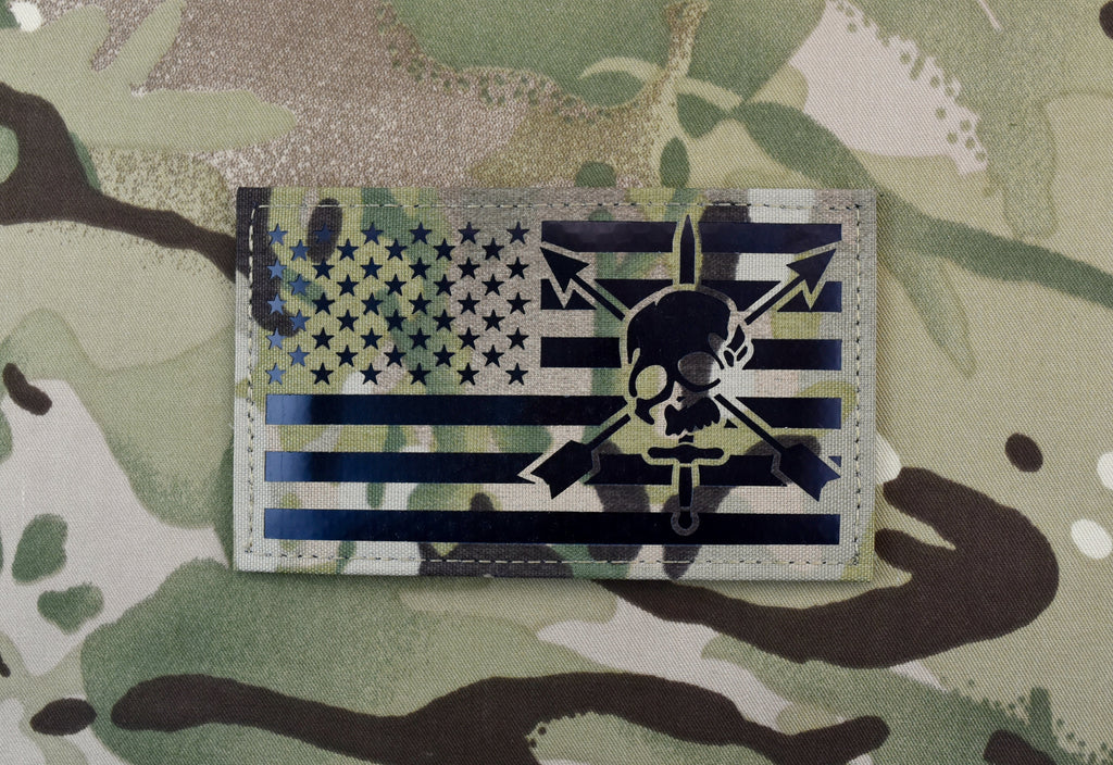 "Infrared Multicam IR US Flag Patch 3.5"" x 2"" Special Forces CIF"