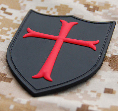Crusader Cross Shield Morale 3D PVC Patch
