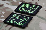 Lime Green & Black Australian Flag Patch Set