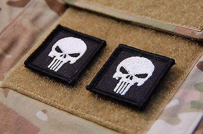 2 x Punisher Skull Mini Glow In The Dark Morale Patch Set