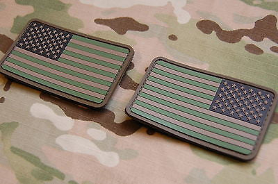 USA US Stars & Stripes Flag Patch Set Multicam Woodland ACU Velcro PVC Patch