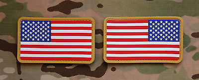 USA US Stars & Stripes Flag Patch Set MilSpec Velcro PVC Patch