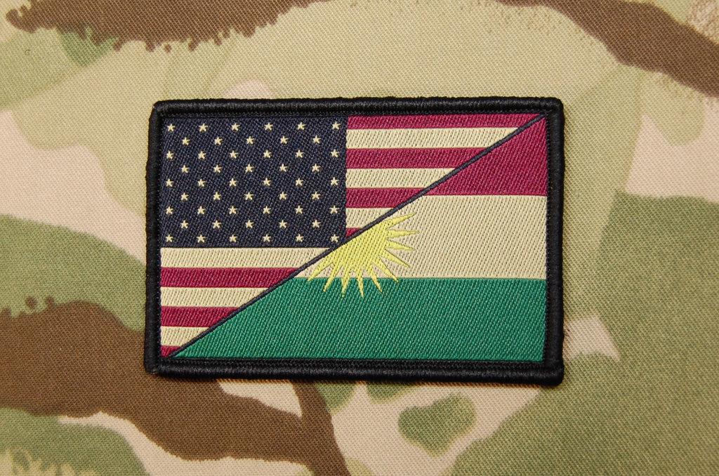 US Kurdistan Friendship Flag Woven Morale Patch