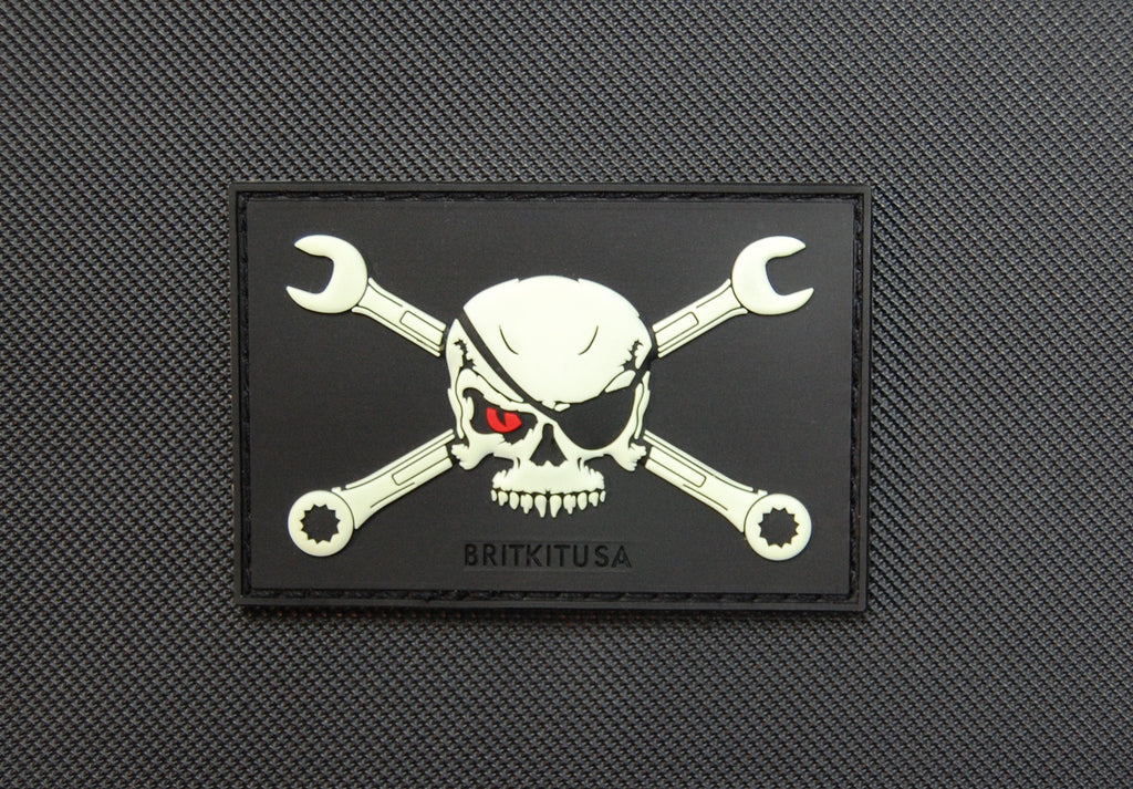Skull & Wrenches Glow In Dark 3D PVC Morale Patch