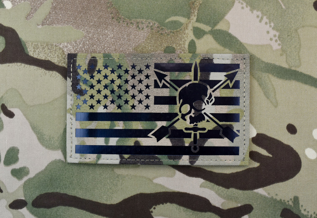 "Large Infrared Multicam IR US Flag Patch 5"" x 3"" Special Forces CIF"