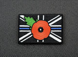 Premium Embroidered UK Thin Blue Line Poppy Patch