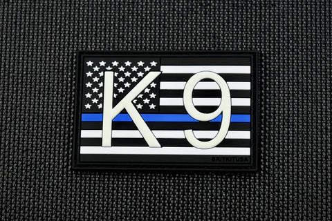 K9 UK Flag 3D PVC Morale Patch -Thin Blue Line GITD