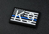 K9 US Flag 3D PVC Morale Patch -Thin Blue Line GITD