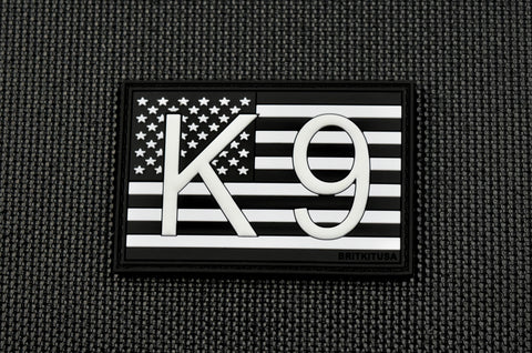 K9 UK Flag 3D PVC Morale Patch -B&W GITD