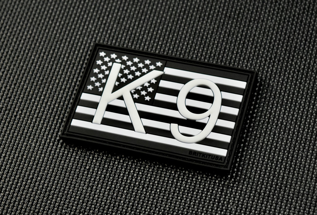 K9 US Flag 3D PVC Morale Patch - B&W GITD
