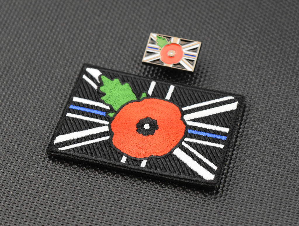 Premium Embroidered UK Thin Blue Line Poppy Union Flag Morale Patch & Pin Set