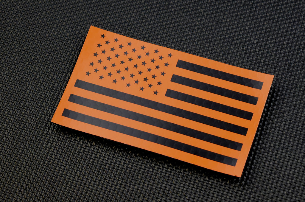 Infrared US Flag Patch Set - Orange & Black / Search & Rescue